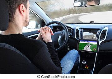 vehículo, prueba, el conducir del hombre, autónomo