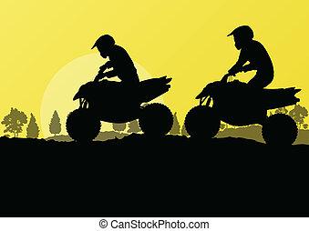 vehículo terreno, cuadratura, moto, jinetes, en, campo, bosque, paisaje de la naturaleza, plano de fondo, ilustración, vector