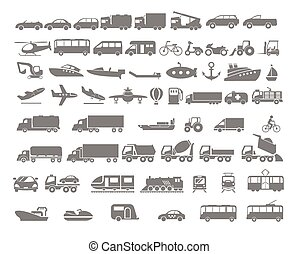 vehículo, y, transporte, plano, icono, conjunto