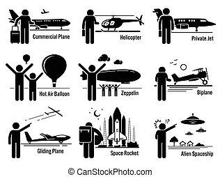 vehículos aéreos, gente, transporte