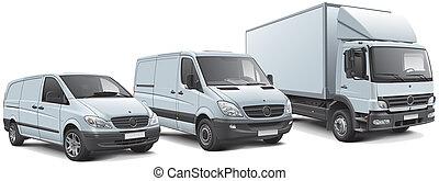 vehículos, comercial, europeo, alineación