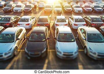 vehículos, comerciante, acción
