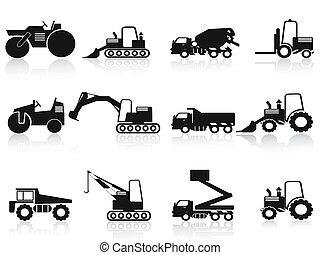 vehículos, conjunto construcción, negro, iconos