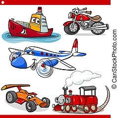 vehículos, divertido, conjunto, caricatura, coches