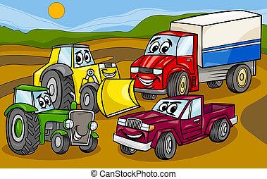 vehículos, grupo, caricatura, ilustración, máquinas