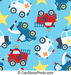 vehículos, pattern., rescate, seamless