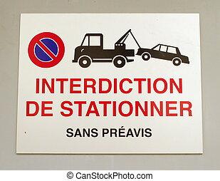 vehículos, remolcar, signo francés