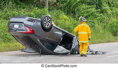 Vehicle Accident with Emergency Personnel Attending
