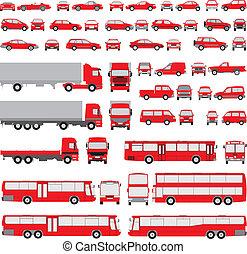 vehicle-assorted, απεικονίζω σε σιλουέτα