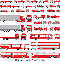 vehicle-assorted, silhouettes
