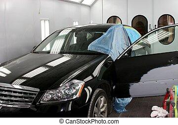 Body Painting - Vehicle Body Painting. Damaged Luxury Car