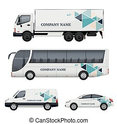 Vehicle branding. Transportation advertizing bus truck van car realistic vector mockup