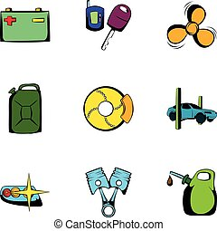 Vehicle icons set, cartoon style