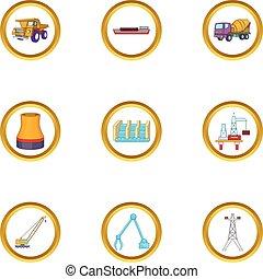 Vehicle icons set, cartoon style