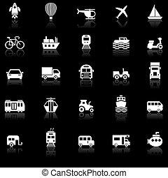 Vehicle icons with reflect on black background