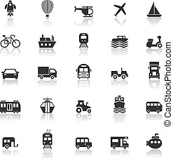 Vehicle icons with reflect on white background