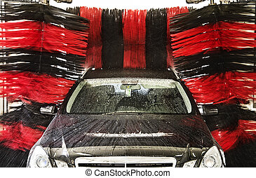 Vehicle in a car wash
