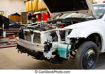 Vehicle in Auto Repair Shop - After a big auto collision...