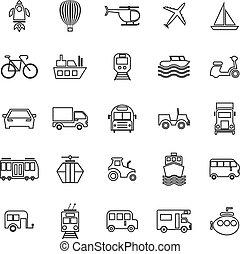 Vehicle line icons on white background