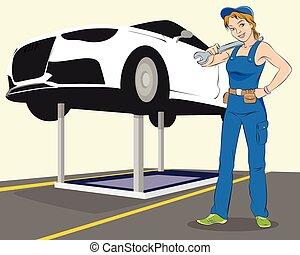 Vehicle maintenance - Vector illustration of a vehicle...