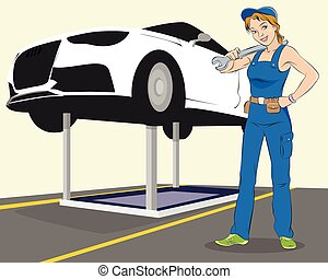 Vehicle maintenance - Vector illustration of a vehicle...