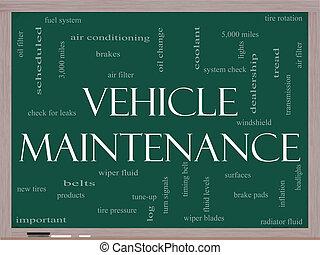 Vehicle Maintenance Word Cloud Concept on a Blackboard -...