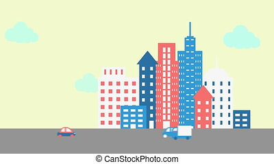 Vehicle moving in the city street - Illustration of vehicle...