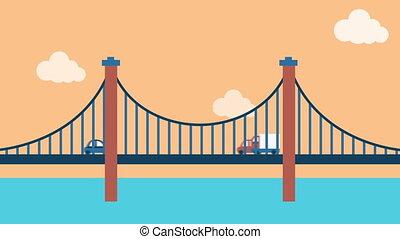 Vehicle moving on bridge - Illustration of vehicle moving on...