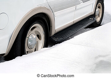 Vehicle Parked in Snow Banks Winter Snowy
