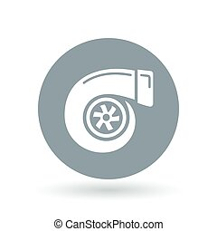 Vehicle performance turbo icon. Car turbocharger sign. Performance turbo compressor symbol. Vector illustration.