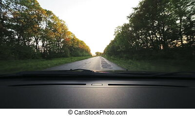 Vehicle point-of-view driving on road., alley. Look through windscreen