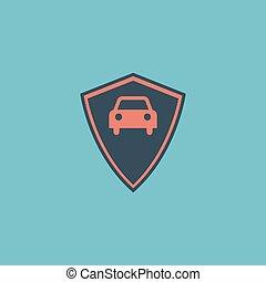 vehicle shield flat icon