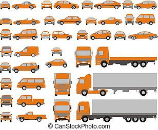 Vehicle shapes, car isolated silhouette on white background