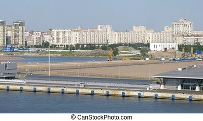 Vehicle traffic near Saint Petersburg port, time lapse