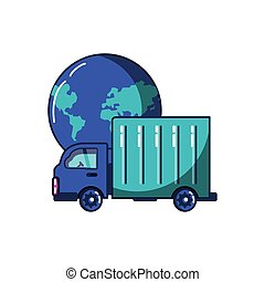 vehicle truck transport with planet earth