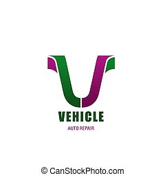 Vehicle V letter vector icon for auto repair