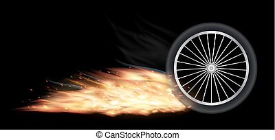 vehicle wheel with fire burning