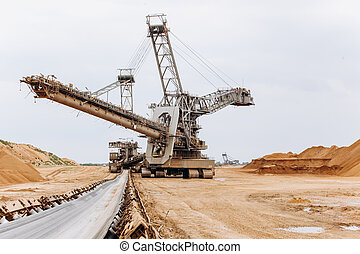 vehicle., wiel, reus, groot, land, mines., graafwerktuig,...