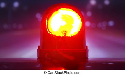 Vehicle with red flash emergency light on highway at night...