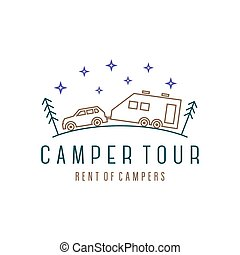 Vehicle with trailer camper in the woods at night wind illustration, camping among pines and firs