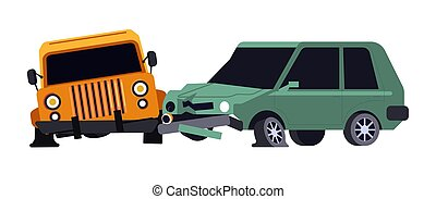 Vehicles collision or car crash isolated icon, careless ...