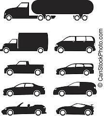 Isolated black Vehicles icons set on white background