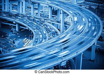 vehicles motion blur on the bridge approach