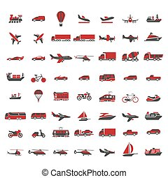 Vehicles of all kinds big illustrations set in red colors. ...