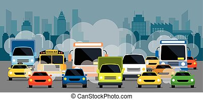 Vehicles on Road with Traffic Jam Pollution - Front View...