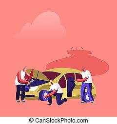Vehicles Utilization Concept. Mechanics Characters Work on ...