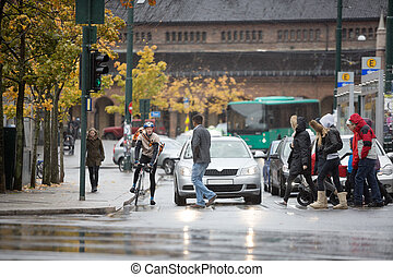 Young male cyclist along with other vehicles waiting for commuters to cross the street