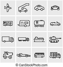 veicoli, linea, vettore, set, icona