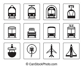 veicoli, set, pubblico, icone