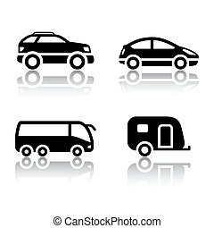 veicoli, set, -, trasporto, icone